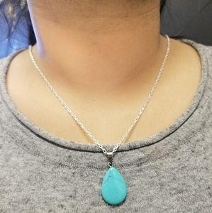 Turquoise Teardrop Pendant Silver Necklace